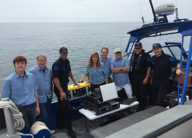 John V Moran ROV team MRSA members in Blue shirts with Michigan State Police