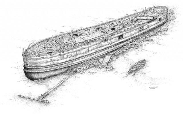 Drawing of the Michigan by Robert Doornbos