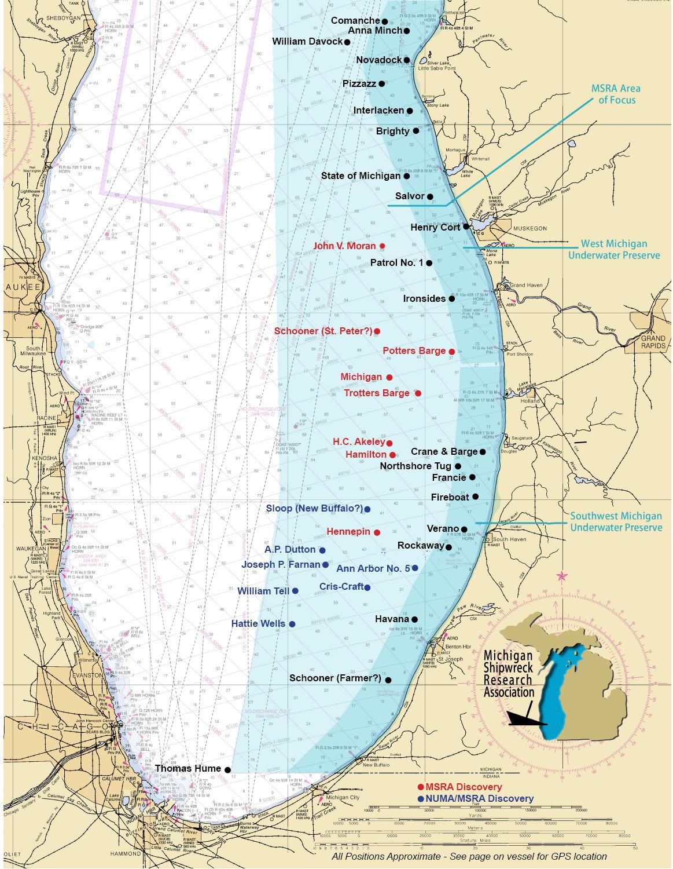 map of lake michigan shipwrecks Lake Michigan Shipwreck Map map of lake michigan shipwrecks