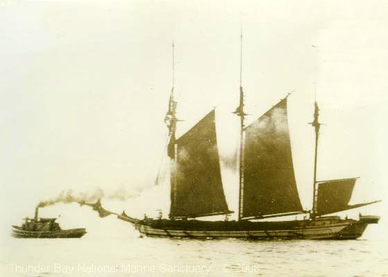 The Hattie Wells under tow